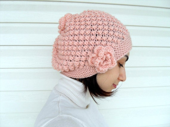 Breast Cancer Awareness,Winter Fashion,Hand Knitted Hat,Salmon Pink, Slouchy Ribbed Chunky Cute Hat, Beanie, Mesh Beret, Peach,TeamT