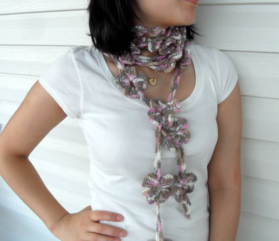 Crochet Lariat Multicolor Flowers Beige Light Brown Pinky Scarf Multicolor Earth Tones Winter Accessory TeamT