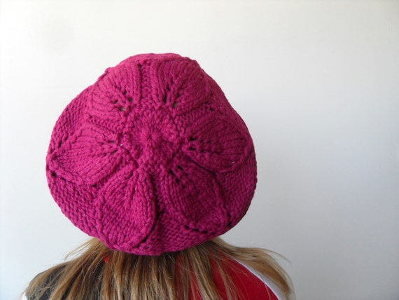 Hand Knitted Hat Raspberry Cherry Slouchy Ribbed Chunky Cute Hat,Beanie,Mesh Beret, Spring Fashion Fuchsia Red Winter Accessory TeamT