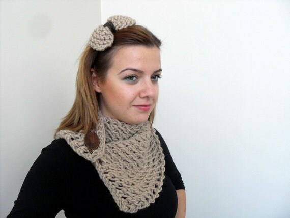 Beige Neckwarmer With Bow Headband Rustic Gift Eart Tones Light Brown Earthy Woodland Christmas Gift Wood Button TeamT
