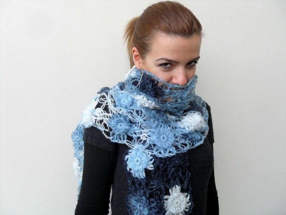 Blue Shawl, Flower Shawl, Multicolor Sparkling Blue Tones Shawl, Neckwarmer,Sea Sky Ocean Sailing Nautical TeamT