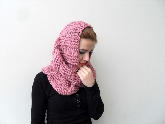 Hooded Scarf in Rose Pink Blush Carmine Crimson Loop Hand Knitted Shawl Winter Fashion Winter Accessory Little Riding Hood Chunky Hood