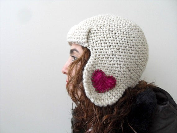 Winter Accessories, Heart Knit Hat, Valentines Day Gift, Pilot Hat for Adults, Hand Knitted Hat, Aviator Hat