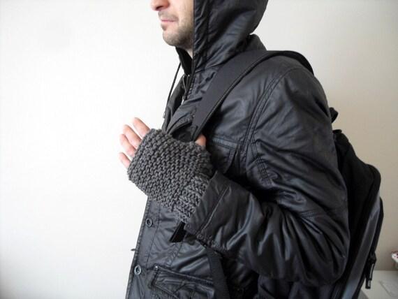 Grey Men Gloves, Knit Men Gloves, Gift For Dad, Fingerless Men Gloves, Adventurer,Steampunk, Boho Man,Gift For Him, Gift Under 25