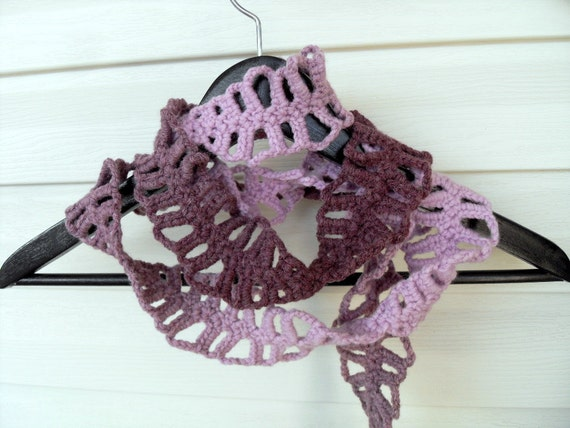 Crochet Lariat,  Ombre Scarf, Purple Lariat, Herringbone Scarf, Under 25, Crochet Scarf, Spring Trends