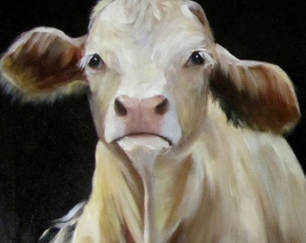 Cow Canvas Giclee Art,Beethoven,Original Painting by Cheri Wollenberg