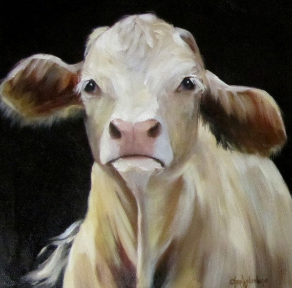 Cow fine art print canvas giclee reproduction by for Cow painting print