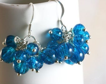 cha cha earrings Aqua Berry beautiful handmade