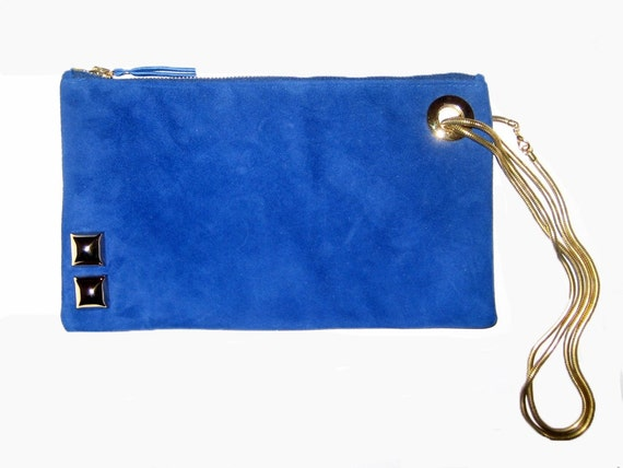 royal blue leather clutch bag in supersoft kid suede w golden
