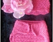 Crochet PATTERN 119, Dainty Scalloped Newborn Hat & Matching Adjustable Diaper Cover, Photography Prop