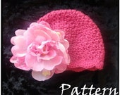 Crochet PATTERN 120, Dainty Scalloped Beanie Hat, Photography Prop, 3 Sizes