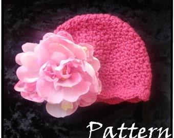 Crochet PATTERN 120, Dainty Scalloped Beanie Hat, Photography Prop, 3 Sizes