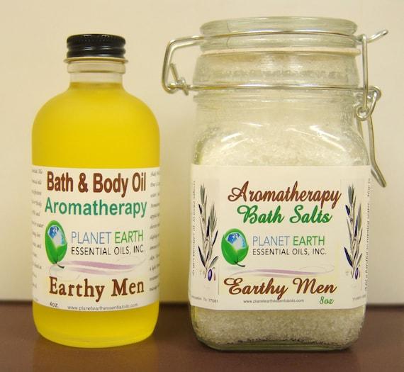Earhy Men SET Aromatherapy Bath Salts & Body Oil