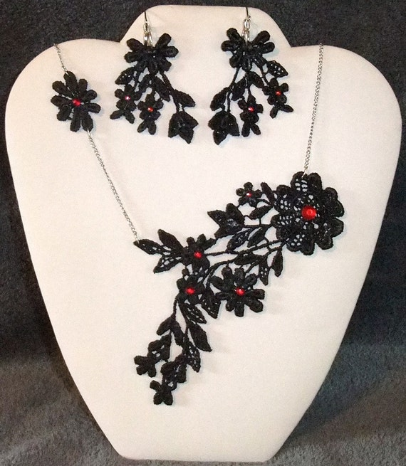 Eco Friendly Recycled Black Hand Dyed with Red Rhinestones Wedding Gown Venice Lace Necklace