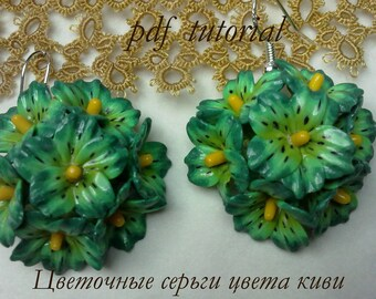 Earrings with flowers the color kiwi.