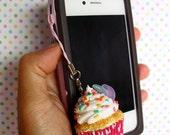 Miniature Cupcake Phone Charm