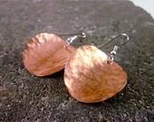 Hammered Copper Disc Earrings - Full Moon