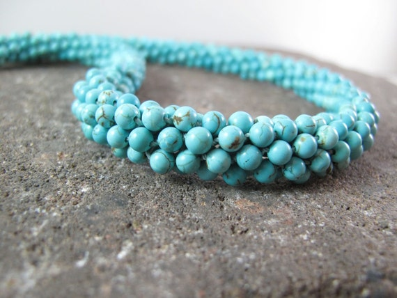 Genuine Turquoise Kumihimo Bead Rope Necklace - Blue Skies