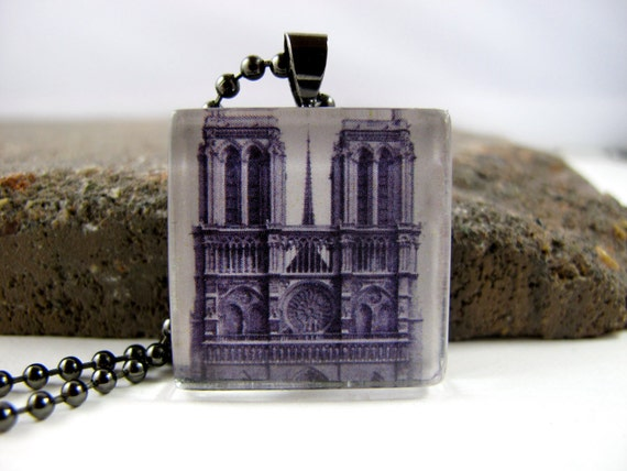 Gunmetal and Glass Tile Necklace - Cathedral of Notre Dame, Paris France