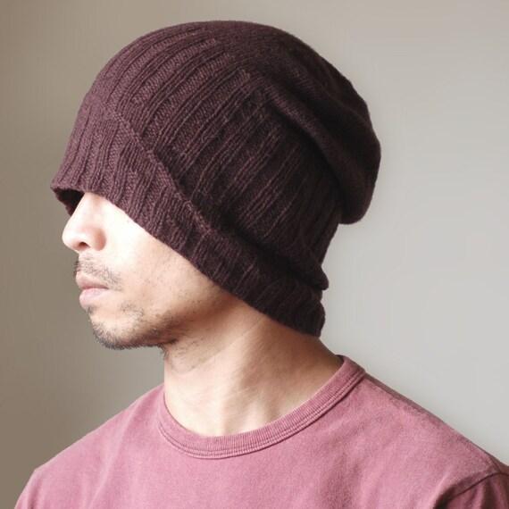 Hand Knit Mens Hat - Skew Foxtrot