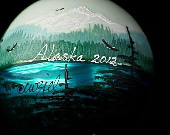 GREEN ALASKA personalized handpainted Christmas ornament
