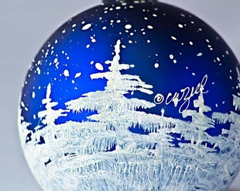 SNOWY TREES personalized hand-painted glass ball Christmas ornament