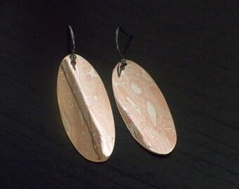 Mokume Oval Drop Earrings.