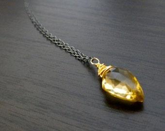 Shield Cut Honey Quartz Drop Necklace
