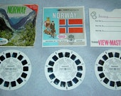Vintage Viewmaster 3 reels Norway Nations of the World Packet No B 153 With Booklet