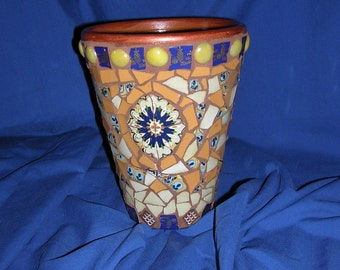 Mosaic vase in blue and golds