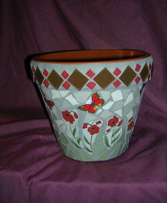 Mosaic Pot  Red Poppies and Butterflies