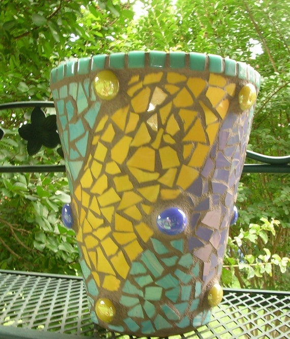 Mosaic Pot in blue, yellow, purple