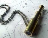 telescope necklace, nautical jewelry, astronomy. steampunk, navigation. I Spy