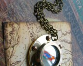 HALF OFF Brass Porthole Necklace with Mirror