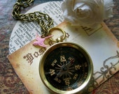 Compass Necklace with Pink Bird - Travel Inspirational Aviation