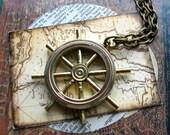 Ship Wheel Necklace Nautical Time Travel Sci Fi Steampunk