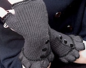 Fingerless Three Button Ruffle Gloves - Charcoal Grey Black - Wool