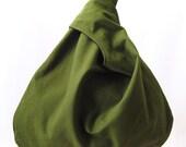 Olive Green Black Kona Cotton One Strap Reversible Medium Wrist Handbag
