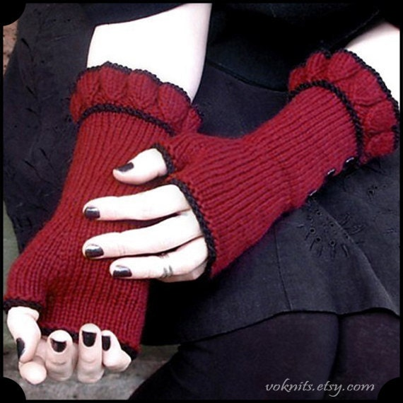 BELLE hand knit dark red valentine fingerless ruffled gloves with buttons - ready to ship - free shipping