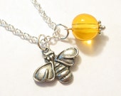 Busy Little Honeybee Necklace, bee, orange, yellow, beaded, charms, silver, insect, but, cute