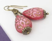 Vintage Style Hot Pink Carved Teardrop Beads