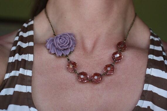 Purple Rose Necklace - Statement Jewellery