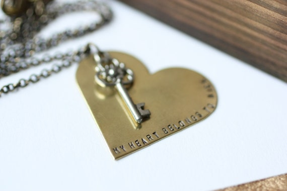 Brass Handstamped Heart and Key - My Heart Belongs To You