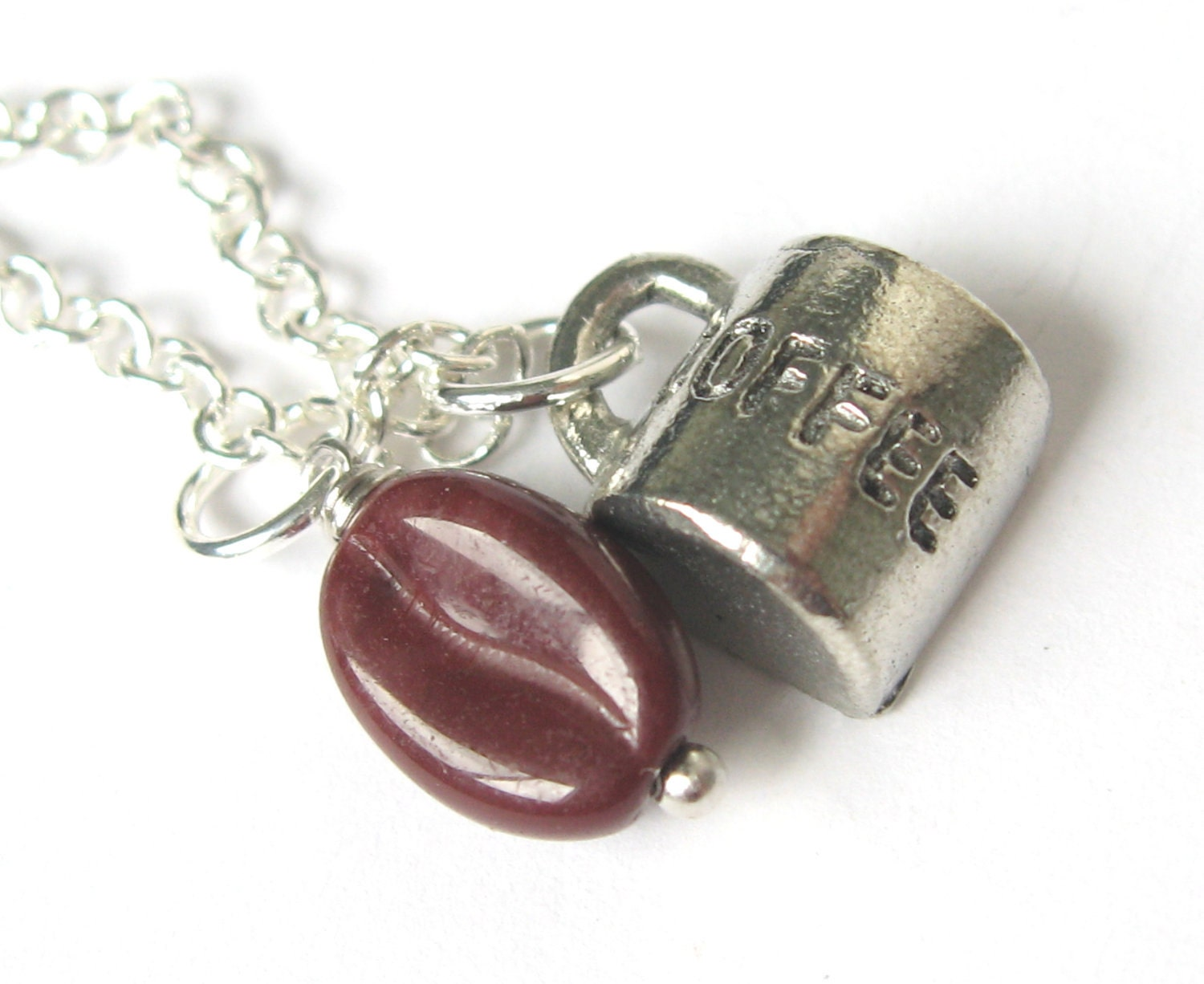 coffee bean necklace cup charm by distinctlyivy on etsy