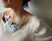 Leather Spring Branch Necklace with Blue and Silver Flowers