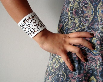 White Leather Lace Around The Wrist