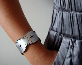 Silver Leather Braid Cuff