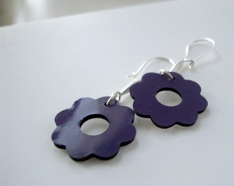 Silver Leather Earrings With Purple Patent Leather Flowers