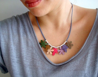 Summer Necklace with Patent Leather Flowers and Silver Tubes