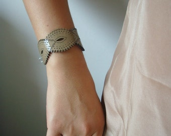 Khaki Patent Leather Braid Cuff